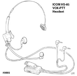 hs-85, headset with vox/ptt/one-touch ptt  click to view diagram