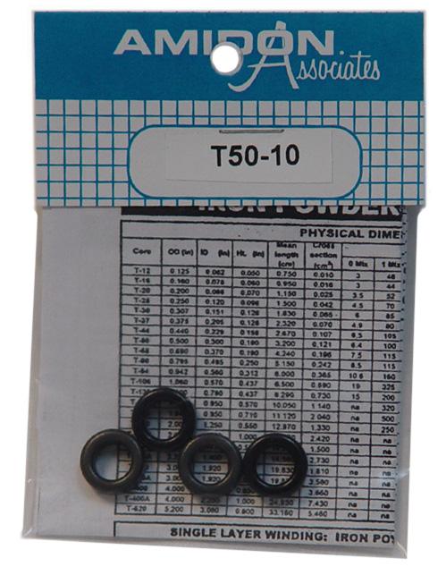 Amidon Iron Powder Toroidal Core T-50-6 Pkg of 4