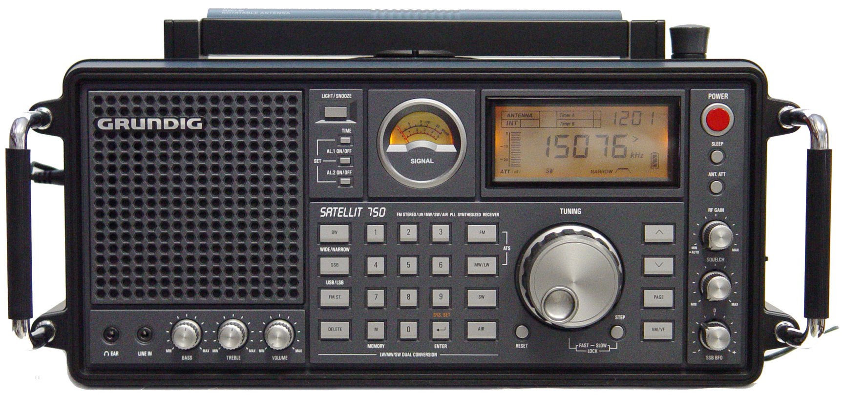 Grundig Satellit 750 является радиоприёмником, способным принимать различные виды модуляций и полосы частот.