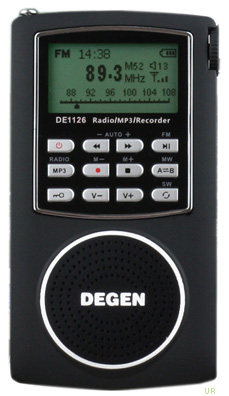 Радиоприемник Degen DE1126.  Избирательность: 40 dB.  ЖК дисплей.