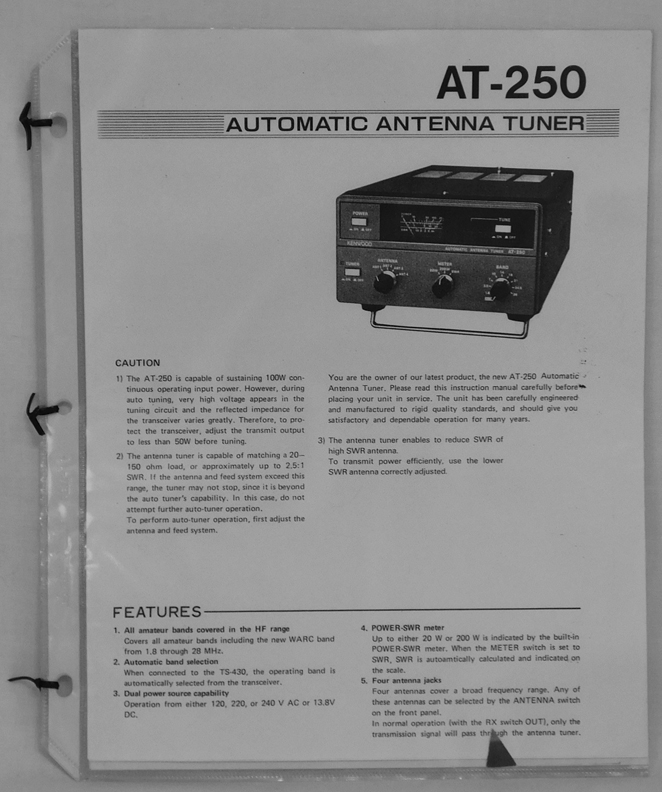 Kenwood AT-200, AT-230, AT-250 Antenna Tuner